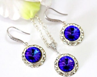 Purple Earrings Necklace Set Swarovski Rivoli Crystal Heliotrope Purple Jewelry Set Bridesmaid Gift Prom Jewelry Maid of Honor Gift HE34JS