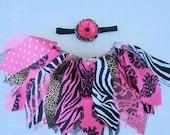 Leopard Zebra Pink Black Fabric Tutu with matching headband