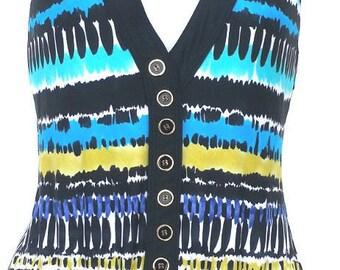 LELANI Indian Southwestern blue pattern 1-piece Bathing Suit US sz 10