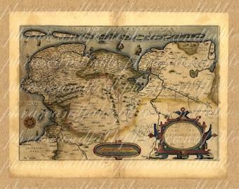 Map Of Northeast Netherlands From 1500s  Drachten Leeuwarden Sneek Heerenveen Dutch Holland Cartography Vintage Digital Image Download 312