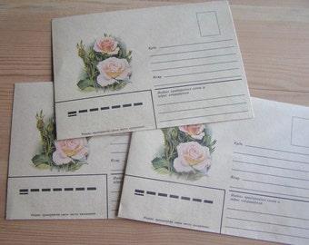 Soviet envelope set Vintage envelopes set of 3 Soviet vintage envelopes Soviet paper ephemera Envelopes with roses Rose envelopes