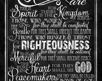 Scripture Art - Matthew 5:3-10 Chalkboard Style