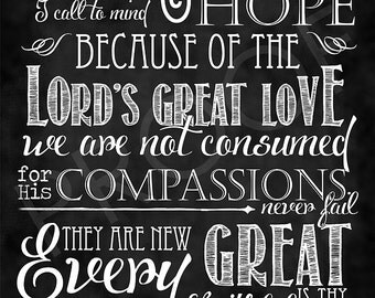 Scripture Art - Lamentations 3:21-23 Chalkboard Style