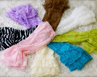 Ruffle lace leg warmers in may colors