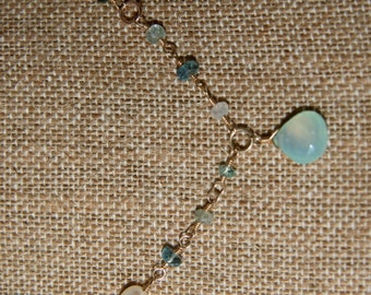 """Natalia Necklace: Aqua chalcedony briolette dangles on wire wrapped 14k gold filled necklace of multiple stones - 18"""""""