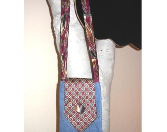 Upcycled Necktie Purse Bohemian Boho Handmade Recycled Jeans Bag - Style A