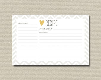 Bridal Shower Recipe Cards // Chevron Heart Grey and Yellow (PP54)