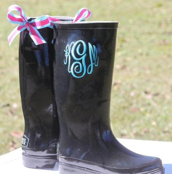 monogram personalized rain boots wellies black by thepurplepetunia