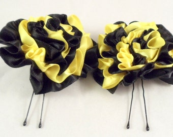 Hair Pins Black and Buttercup Yellow Satin Ruffle Flower Women Teens Girls Wedding Bridal Bridesmaids Flowergirls