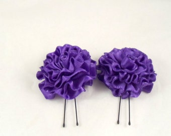 Hair Pins Purple Satin Ruffle Flower Women Teens Girls Wedding Bridal Bridesmaids Flowergirls