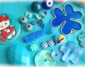 Set blue Mix cabochons and many pcs
