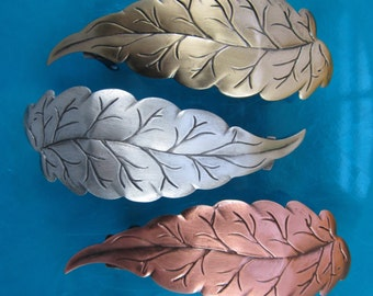 LEAF FRENCH BARRETTE 80mm Silver Ox-Copper Ox-Brass Ox finishes
