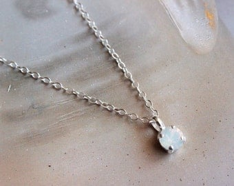 Tiny Swarovski Crystal Pendant in White Opal and Silver