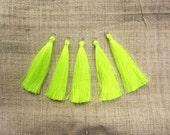Neon Yellow Silky Tassels Decorative Tassels Craft Supplies DIY tassel Large tassels Tassels for jewelry Luxury tassels  Jewelry tassels
