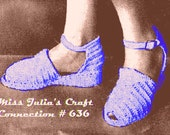 Vintage Stylish Wedge Sandals 636 PDF Digital Crochet Pattern