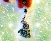 Belly Ring, Tibetan Silver Exotic Turquoise Green & Blue Crystal Peacock Belly Button Ring, Belly Button Navel Jewelry For Women, or Teens