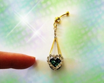 SALE-Belly Ring, Large Gold Dangling Ocean Emerald Green Crystal Heart, Fancy Belly Button Ring, Belly Button Jewelry For women or Teens