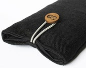 case for iPhone cover sleeve black canvas fabric bag padded plain handmade 4, 4S, 5, 5S, 5C