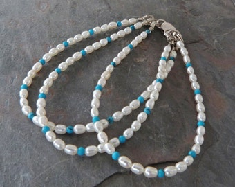 Multi-strand Pearl & Turquoise Bracelet with Sterling Silver, Handmade