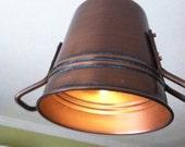 Rustic Copper Pail Pendant Light