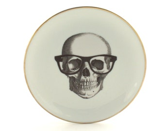 "Altered Nerd Skull Plate Vintage 7.48"" Porcelain Glasses Halloween Home Kitchen Decor Vintage Graduation Golden Rim White Fun Funny Human"