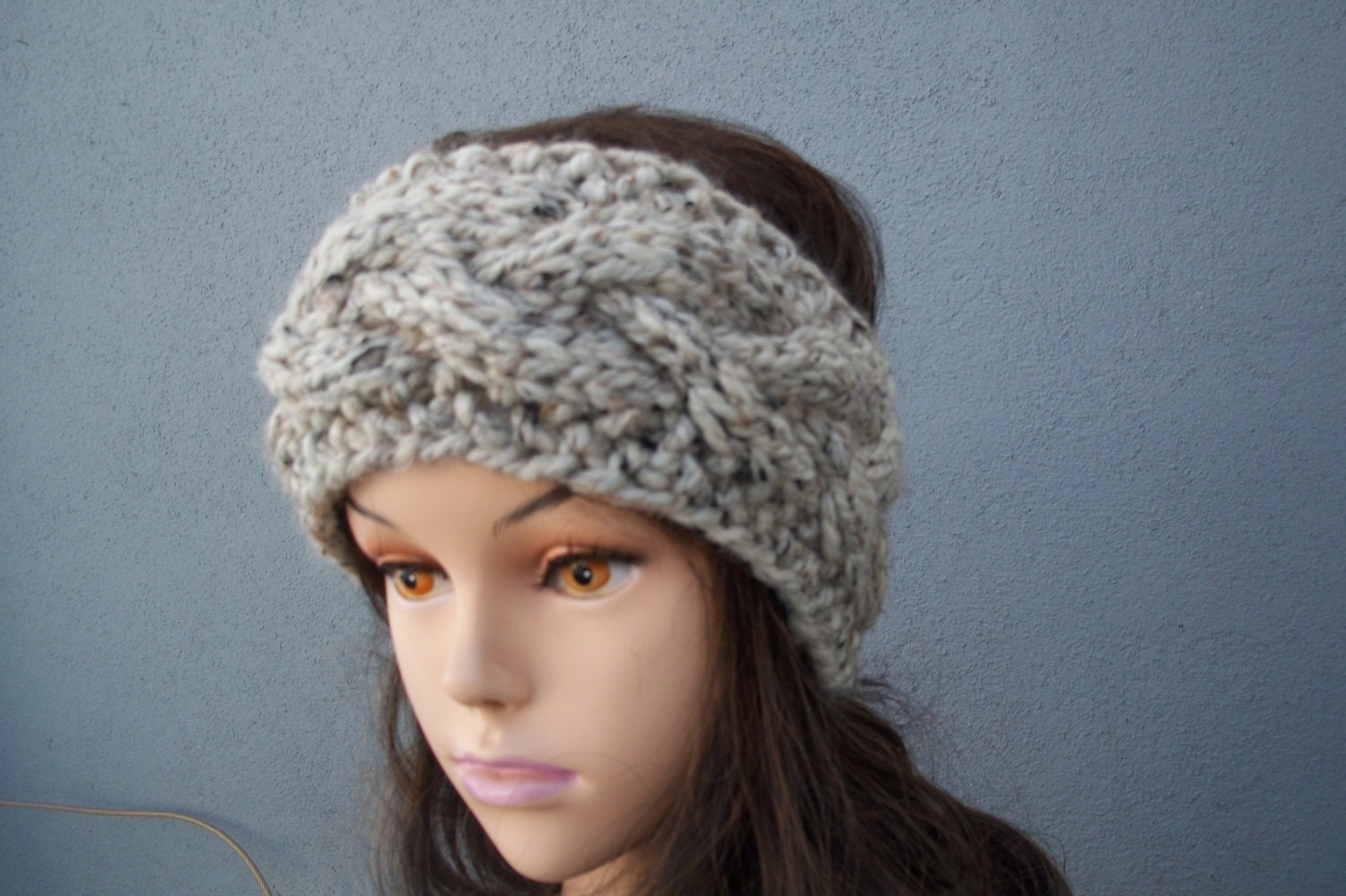 Cable knitted Winter headband with button closure women teen