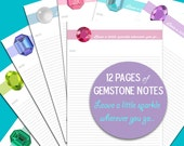 Planner Note Paper, Gemstone Planner Notes, Notebook or Journal Inserts, Printable Download, Inspirational Quote Planner, Personal Planner