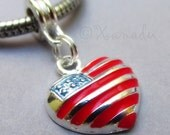 American Flag Heart European Bead Charm - USA Red White Blue Pendant For All European Charm Bracelet And Necklace Chains
