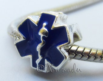 Blue Star Of Life European Bead With Rod Of Asclepius For Big Hole Bracelet And Necklace Chains - Gift For EMTs, Paramedics, Doctors, Nurses