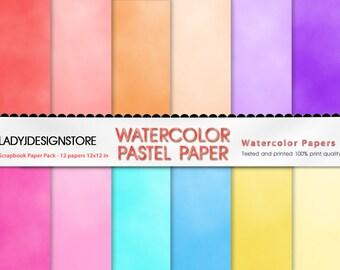 WATERCOLOR PASTEL PAPER - 12 digital paper pack, instant download, watercolor papers, pastel papers, digital papers for scrapbooking