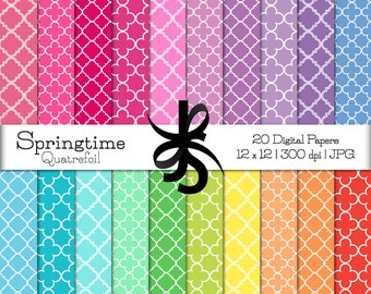 Digital Scrapbook Papers-Springtime Quatrefoil-Lattice Patterns-Spring Clipart-Pastel Colors-Wallpaper-Backgrounds-Instant Download Clip Art