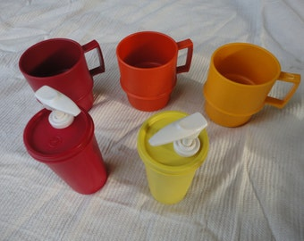 Vintage Stackable Cups and Ketchup Mustard Pumps by Tupperware Made in USA Great for Camping