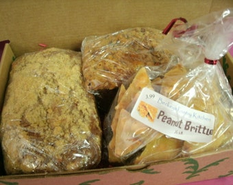 Half Pound. Peanut Brittle packed with peanuts and Two Breads of your choice FREE SHIPPING.