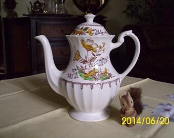 Vintage J&G Meakin Staffordshire England-Braemar-Brown/Yellow Transferware-Tea/Coffee Pot