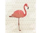 Pink FLAMINGO Art Print, Flamingo Poster, Bird Prints, Home Decor, Wall Hanging / 8x10in