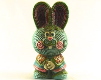 Bunny Figurine Coin Bank - Rabbit Piggy Bank - Rope style, Easter bunny