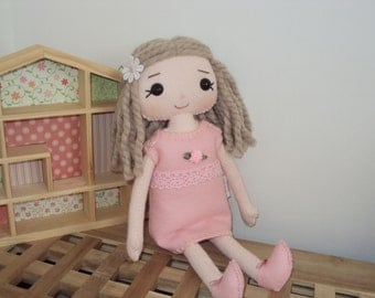 Rag doll with pink rose bud dress. Can be personalised