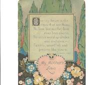 Motto Print - My Mother's Love - Unframed 1930s Art - Elizabeth Akers Poem - Publisher Reliance  - Antique Poem