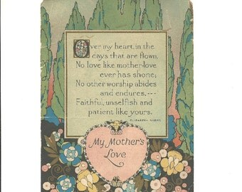 Vintage Motto Print - My Mother's Love - Unframed 1930s Art - Elizabeth Akers Poem - Publisher Reliance  - Art Deco Poem Print