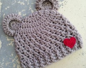 Crochet Country Baby Bear Beanie, Chunky Style Bear Hat in Fawn with a little Red Crochet Heart. 0 To 3 Months. READY TO SHIP.