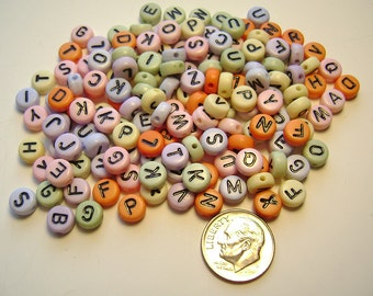 Alphabet ABC Beads Acrylic Pastel 7 mm - 156 Pieces
