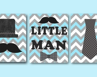 Little Man Kids Wall Art Baby Boy Nursery Art Decor Children Art Print Baby Nursery Print Nursery Print Boy Art set of 3 Blue Gray /