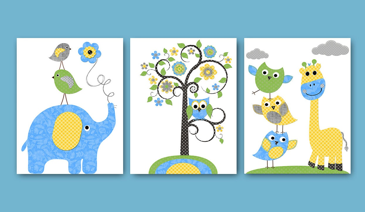 Owl decor giraffe nursery baby boy nursery art nursery wall for Leinwandbilder kinderzimmer
