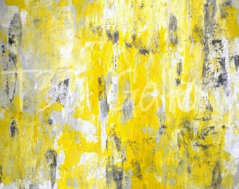 Picking Around, 2012 - Artwork Modern Contemporary Abstract Painting Wall Decor Free Shipping Grey Yellow White 11x14 12x18 16x20 Print