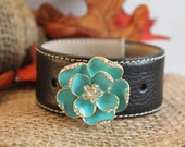 Handmade Leather Cuff Bracelet with a Turquoise Flower Brooch