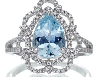 White Gold Vintage Victorian Design Pear Shape Aquamarine Diamond Halo Engagement Bridal Anniversary RHR Ring