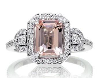 14 Karat White Gold Three Stone 8x6 Emerald Cut Morganite Design Halo Diamond Engagement Anniversary Gemstone Ring
