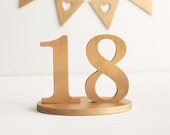 Gold table numbers unpainted DIY custom colors wedding wooden number decoration rustic sign decor set 1-18