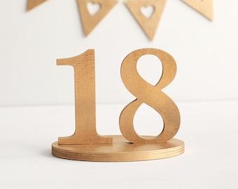 Gold table numbers, wooden table numbers, 1-18 wedding table numbers, unpainted DIY, custom colors