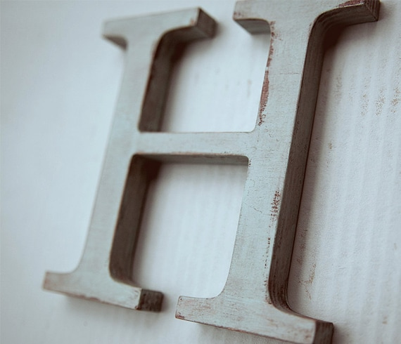 Items similar to wooden alphabet letters vintage decorative letter h modern home decor for - Wood letter wall decor ...